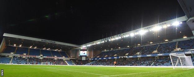 Ibrox is far from full for the match against St Johnstone