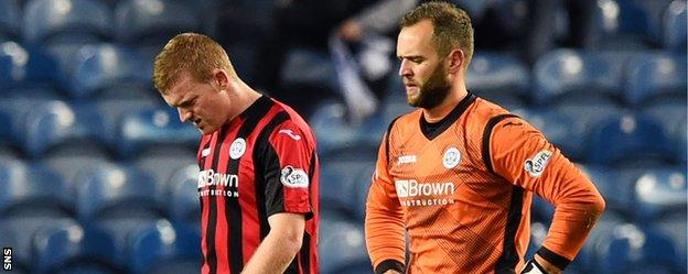 Brian Easton and Alan Mannus show their disappointment