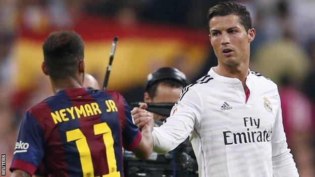 Neymar and Cristiano Ronaldo in the Clasico