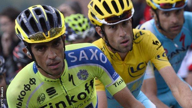 Alberto Contador at the Veulta