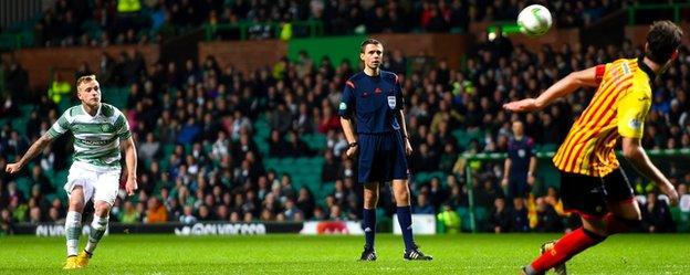 John Guidetti scores for Celtic against Partick Thistle