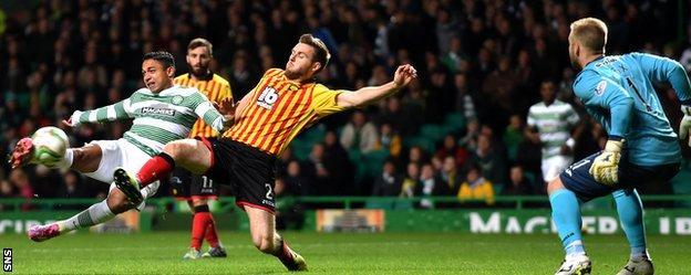 Emilio Izaguirre scores for Celtic against Partick Thistle