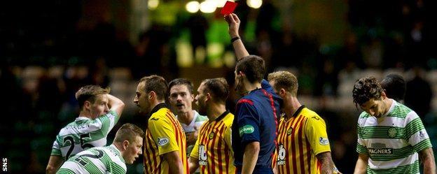 Partick Thistle's Stuart Bannigan is sent off against Celtic