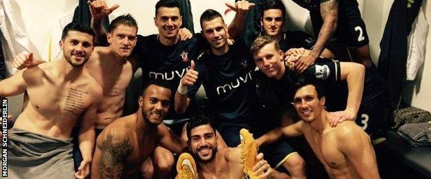 Southampton's players celebrate
