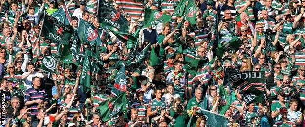 Massed ranks of Leicester fans at the 2013 Premiership final