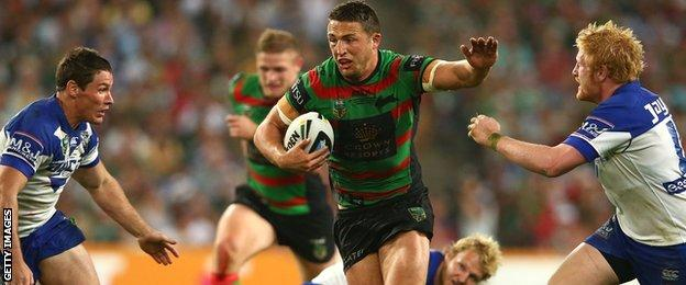 Sam Burgess on the charge for South Sydney Rabbitohs against Canterbury Bulldogs in Australia's NRL Grand Final