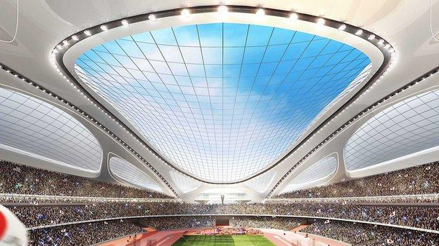 This artist rendering released by Japan Sport Council shows Tokyo's new National Stadium, which will become the main venue for the 2020 Summer Olympics