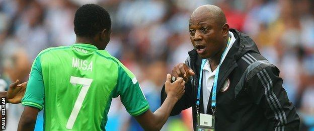 Ahmed Musa and Stephen Keshi (right)
