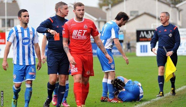 Darren Murray is suspended after being sent-off for a challenge on Coleraine's Adam Mullan.