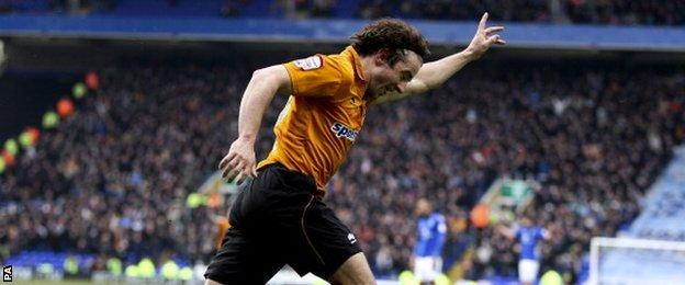 Wolves winger Stephen Hunt celebrates the opening goal at St Andrew's, April Fools' Day 2013