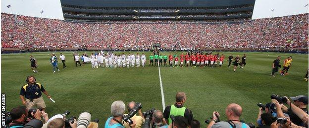 Man United v Real Madrid was watched by 109,000 fans in Michigan
