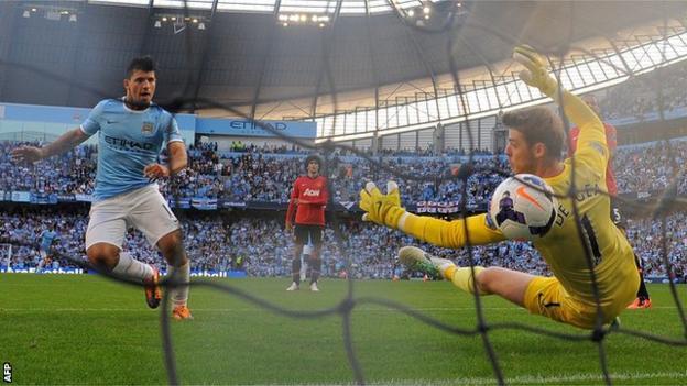 Sergio Aguero scores against Manchester United