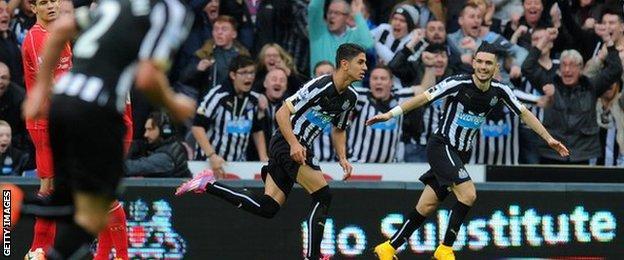 Ayoze Perez celebrates scoring against Liverpool.
