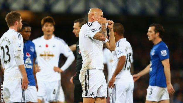 Swansea midfielder Jonjo Shelvey is sent off for his side at Everton