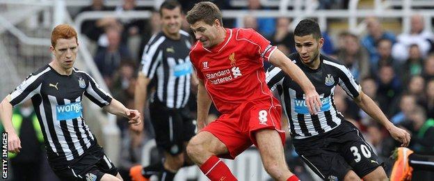 Steven Gerrard in action against Newcastle