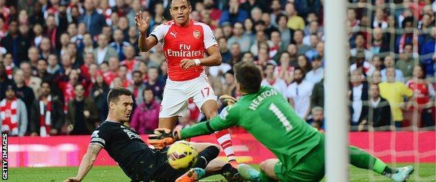 Alexis Sanchez is denied by Burnley goalkeeper Tom Heaton