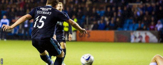 Greg Stewart applies the finish to make it 3-1 to Dundee as they see of Kilmarnock at Rugby Park