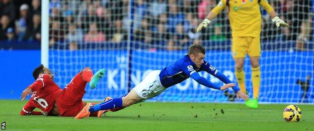 Joleon Lescott tackles Jamie Vardy