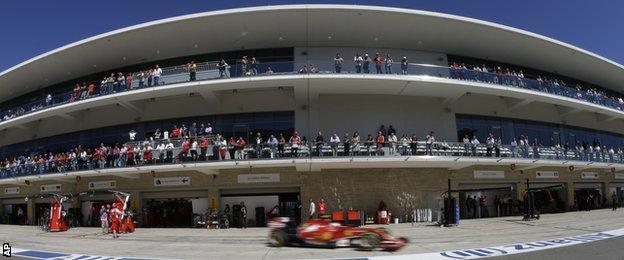 Pit lane at the US Grand Prix