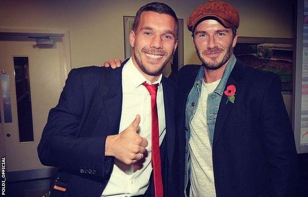 Lukas Podolski and David Beckham