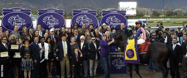 The winning scene at the Breeders' Cup