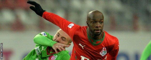 Lassana Diarra in action for Lokomotiv Moscow