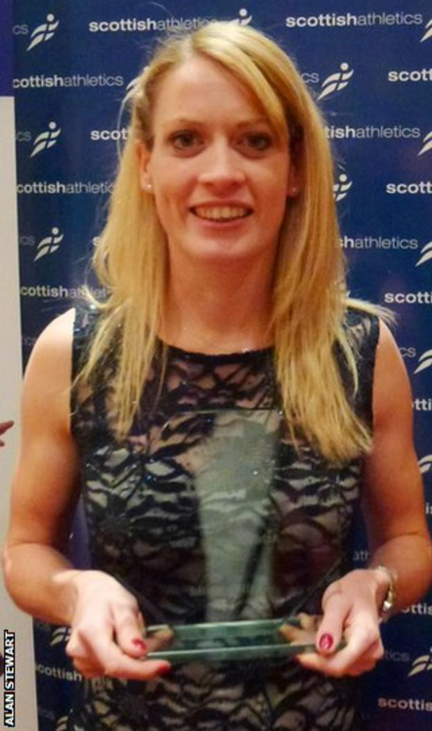 Eilidh Child with the Scottish Athlete of the Year award in 2013
