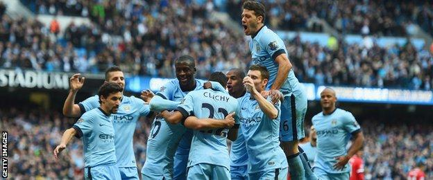 Manchester City celebrate Sergio Aguero's opening goal