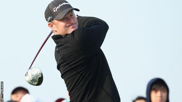 Jamie Donaldson drives in the BMW Open