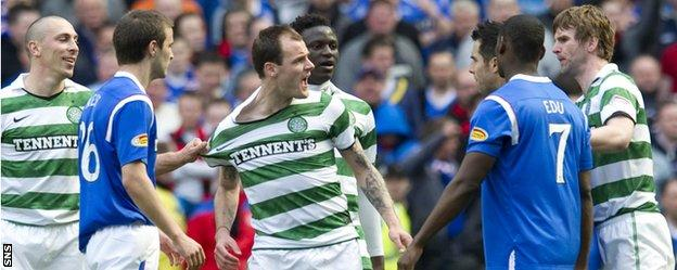 Anthony Stokes (centre) in a heated Old Firm exchange