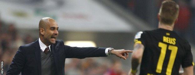 Pep Guardiola and Marco Reus