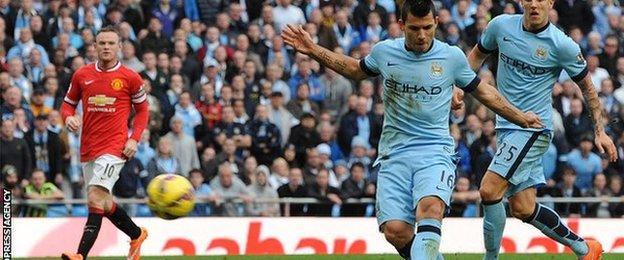 Sergio Aguero scores Manchester City's derby winner