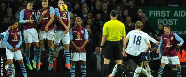 Harry Kane scores Tottenham's late winner with a free-kick at Aston Villa