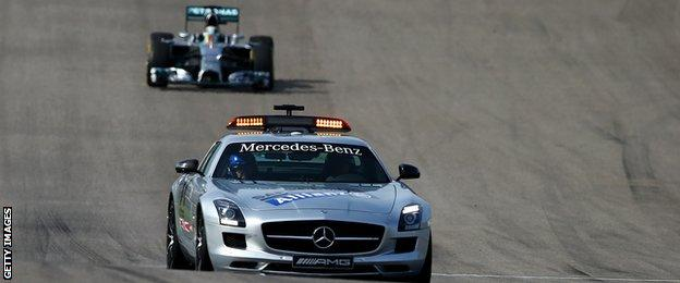 Safety car and Nico Rosberg