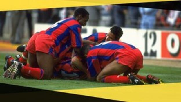 Crystal Palace's Ian Wright celebrates a goal in the 1991 FA Cup final