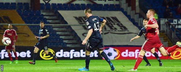 Ross County defender Paul Quinn diverts the ball beyond his own goalkeeper to send Aberdeen 1-0 up