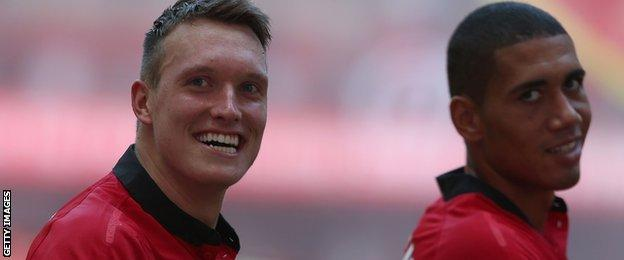 Phil Jones and Chris Smalling of Manchester United