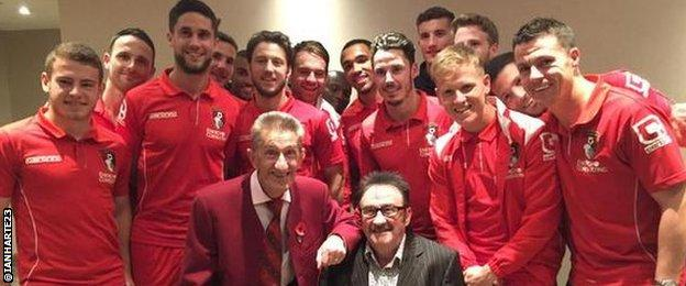 Ian Harte (right) and the Bournemouth team pose with the Chuckle Brothers