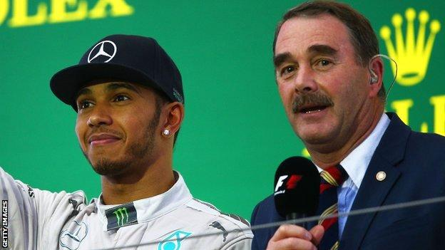 Lewis Hamilton (left) and Nigel Mansell (right)