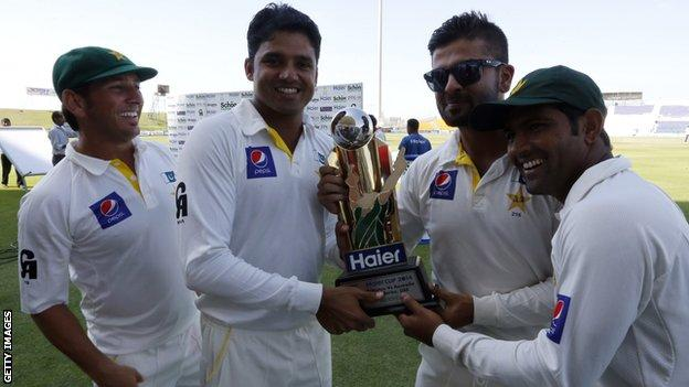Pakistan's players with the Test series trophy