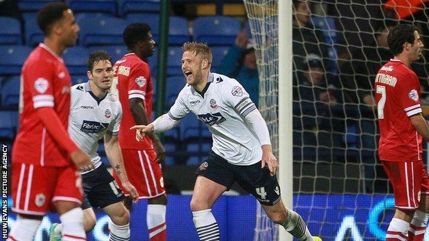 Bolton's Liam Feeney celebrates scoring against Cardiff City