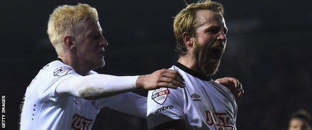 Derby's Johnny Russell celebrates
