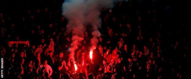 Galatasaray fans light flares at Dortmund