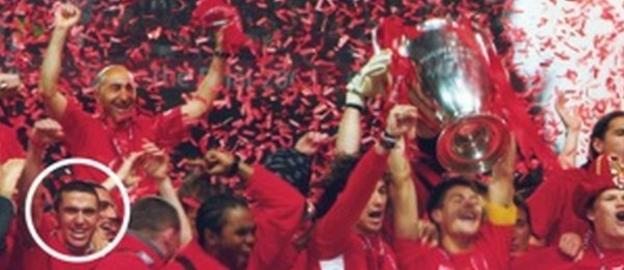 Warrington Town captain David Mannix (circled) was part of Liverpool's 2005 Champions League final winning squad.