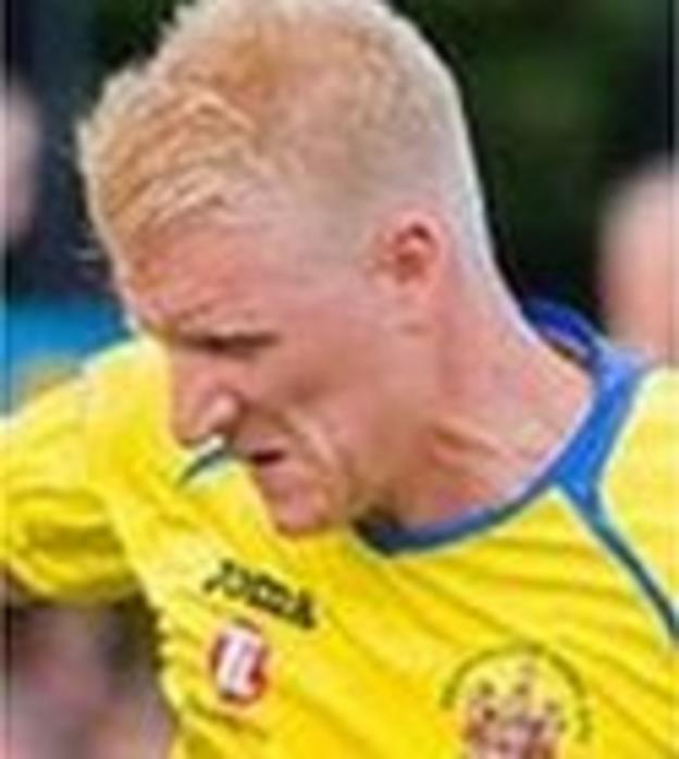 Warrington Town striker Ben Wharton