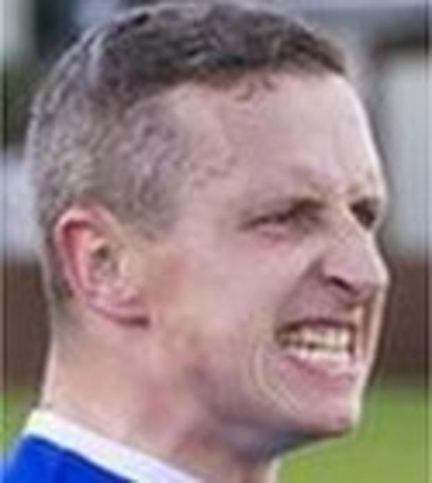 Warrington Town striker Steve Foster