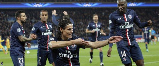 Edinson Cavani celebrates scoring for Paris St-Germain against Apoel Nicosia