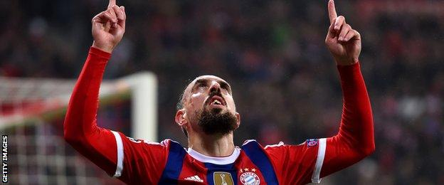 Bayern Munich forward Franck Ribery celebrates scoring against Roma in the Champions League