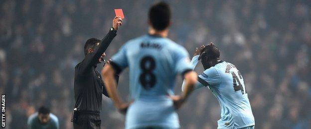Yaya Toure is sent off against CSKA Moscow