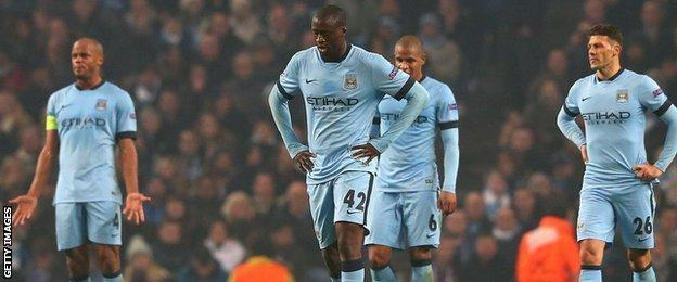Manchester City players react against CSKA Moscow